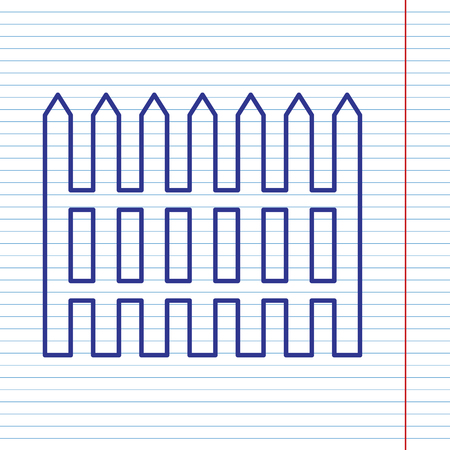 dissociation: Fence simple sign. Vector. Navy line icon on notebook paper as background with red line for field.