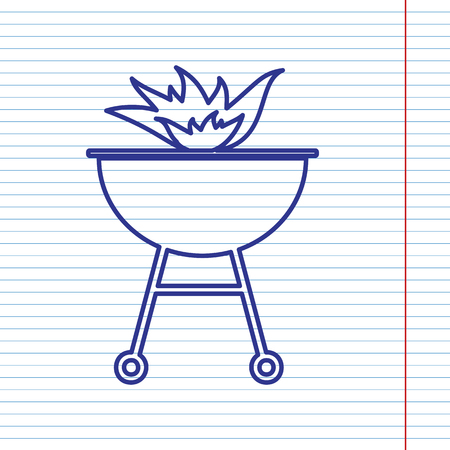 blue flame: Barbecue with fire sign. Vector. Navy line icon on notebook paper as background with red line for field. Illustration