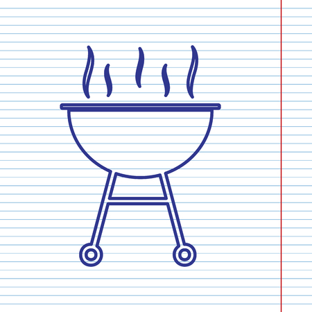blue flame: Barbecue simple sign. Vector. Navy line icon on notebook paper as background with red line for field. Illustration