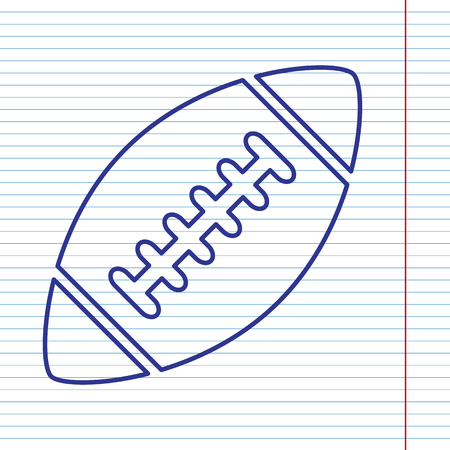 American simple football ball. Vector. Navy line icon on notebook paper as background with red line for field. Illustration