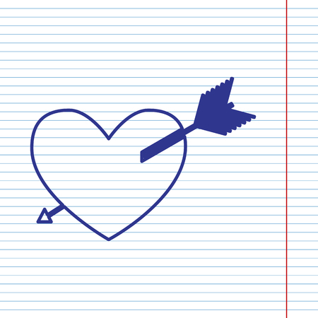 Arrow heart sign. Vector. Navy line icon on notebook paper as background with red line for field.