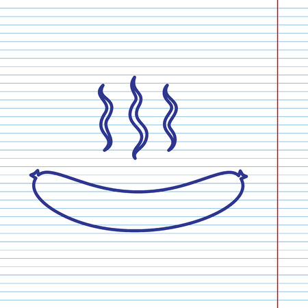 Sausage simple sign. Vector. Navy line icon on notebook paper as background with red line for field. Illustration