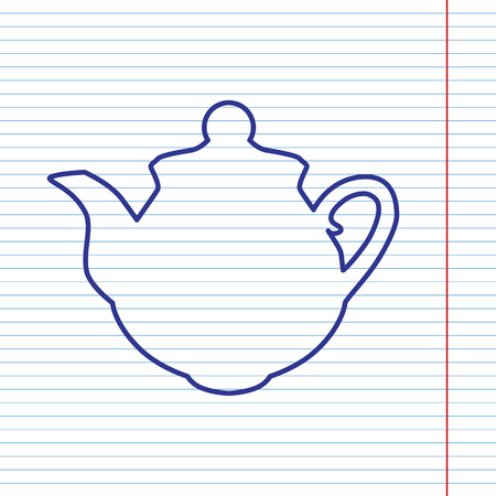 boiler: Tea maker sign. Vector. Navy line icon on notebook paper as background with red line for field.