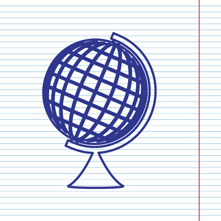 globe  the terrestrial ball: Earth Globe sign. Vector. Navy line icon on notebook paper as background with red line for field.