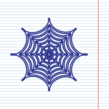 Spider on web illustration. Vector. Navy line icon on notebook paper as background with red line for field.