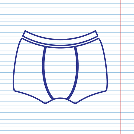 Man`s underwear sign. Vector. Navy line icon on notebook paper as background with red line for field.