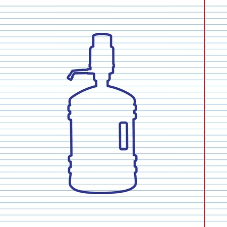 Plastic bottle silhouette with water and siphon. Vector. Navy line icon on notebook paper as background with red line for field.