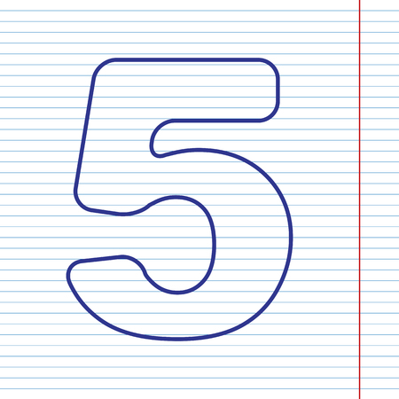 Number 5 sign design template element. Vector. Navy line icon on notebook paper as background with red line for field. Illustration