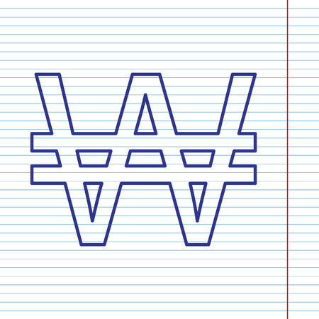 Won sign. Vector. Navy line icon on notebook paper as background with red line for field.