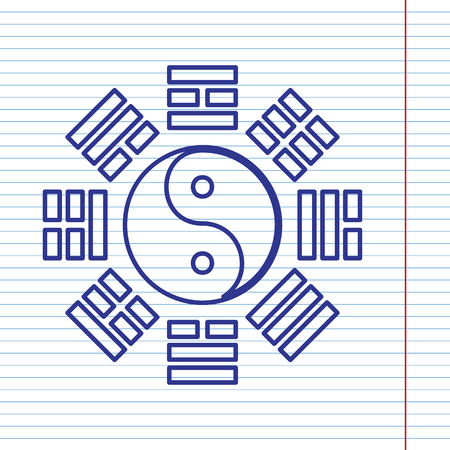 taiji: Yin and yang sign with bagua arrangement. Vector. Navy line icon on notebook paper as background with red line for field. Illustration