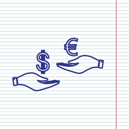 Valutawissel van hand tot hand. Dollar en Euro. Vector. Marine lijn pictogram op notebook papier als achtergrond met rode lijn voor veld.