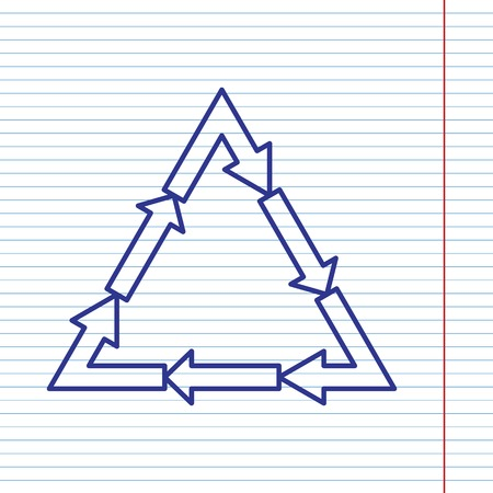 v cycle: Plastic recycling symbol PVC 3 , Plastic recycling code PVC 3. Vector. Navy line icon on notebook paper as background with red line for field. Illustration