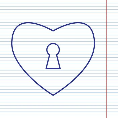 cor: Heart with lock sign. Vector. Navy line icon on notebook paper as background with red line for field. Illustration