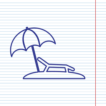 daybed: Tropical resort beach. Sunbed Chair sign. Vector. Navy line icon on notebook paper as background with red line for field. Illustration