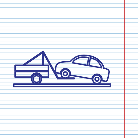 emergency cart: Tow truck sign. Vector. Navy line icon on notebook paper as background with red line for field. Illustration