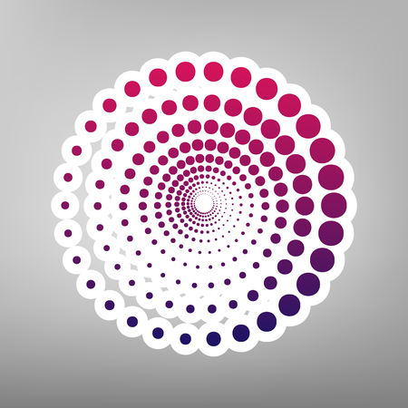 Abstract technology circles sign. Vector. Purple gradient icon on white paper at gray background. Illustration