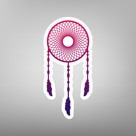 swelled: Dream catcher sign. Vector. Purple gradient icon on white paper at gray background.