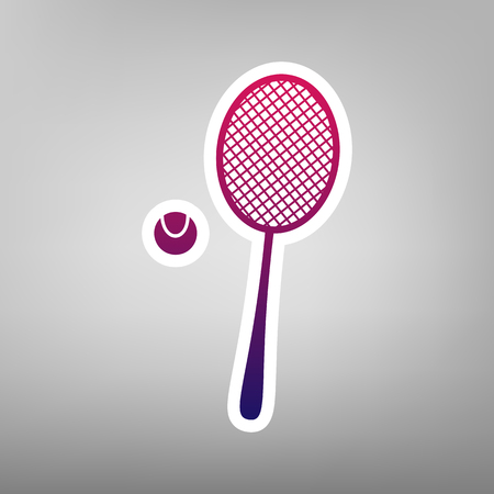 Tennis racquet with ball sign. Vector. Purple gradient icon on white paper at gray background.