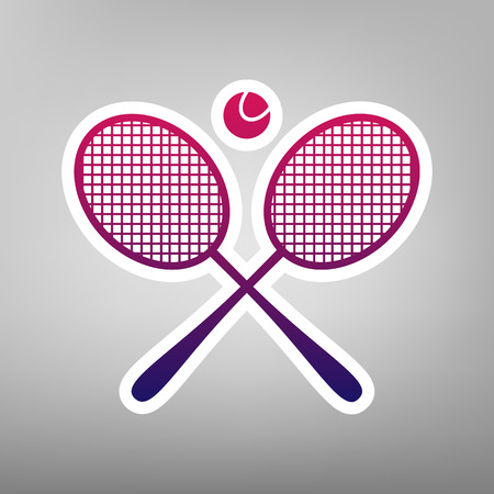 Two tennis racket with ball sign. Vector. Purple gradient icon on white paper at gray background. Illustration