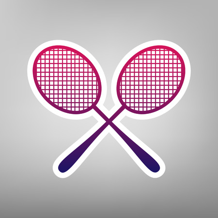 Two tennis racket sign. Vector. Purple gradient icon on white paper at gray background.