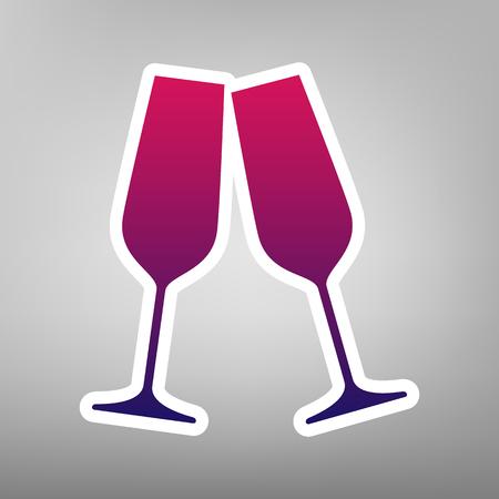 beginnings: Sparkling champagne glasses. Vector. Purple gradient icon on white paper at gray background. Illustration