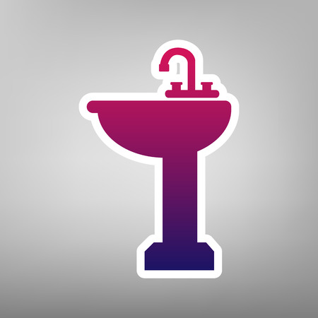 Bathroom sink sign. Vector. Purple gradient icon on white paper at gray background. Illustration