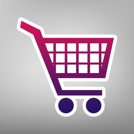 Shopping cart sign. Vector. Purple gradient icon on white paper at gray background. Illustration