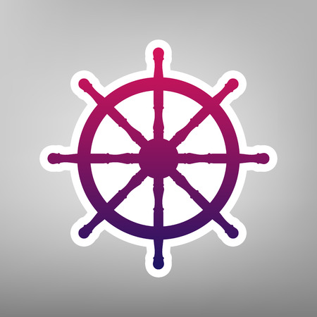 Ship wheel sign. Vector. Purple gradient icon on white paper at gray background.