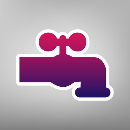 spew: Water faucet sign illustration. Vector. Purple gradient icon on white paper at gray background.