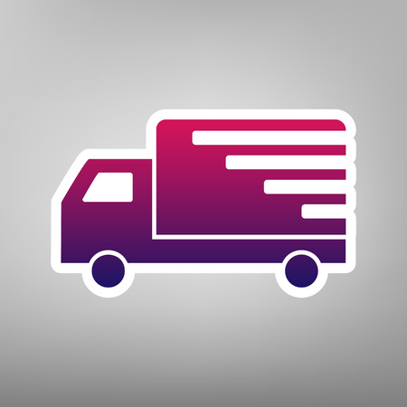 semitruck: Delivery sign illustration. Vector. Purple gradient icon on white paper at gray background. Illustration