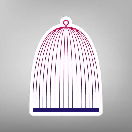 Bird cage sign. Vector. Purple gradient icon on white paper at gray background. Illustration