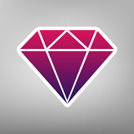 Diamond sign illustration. Vector. Purple gradient icon on white paper at gray background.