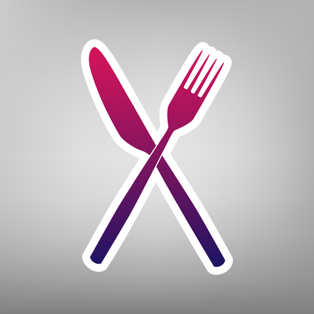 Fork and Knife sign. Vector. Purple gradient icon on white paper at gray background.