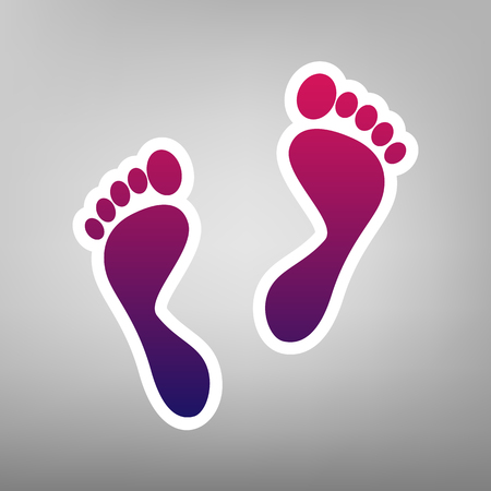 Foot prints sign. Vector. Purple gradient icon on white paper at gray background. Illustration