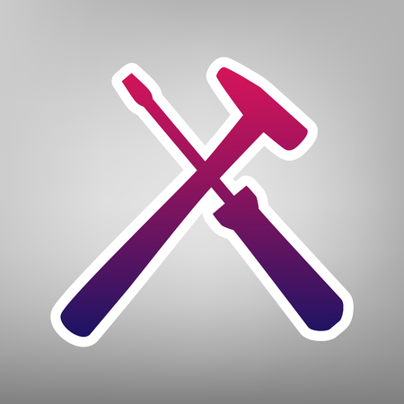 Tools sign illustration. Vector. Purple gradient icon on white paper at gray background.