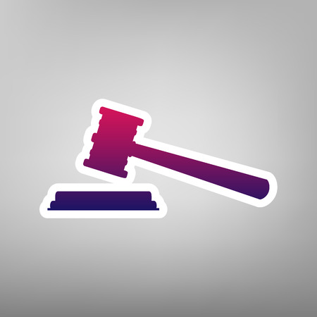 Justice hammer sign. Vector. Purple gradient icon on white paper at gray background. Illustration