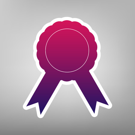 advantages: Label sign ribbons. Vector. Purple gradient icon on white paper at gray background.
