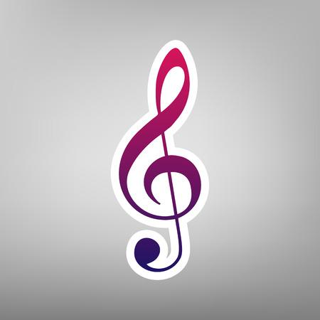 quaver: Music violin clef sign. G-clef. Treble clef. Vector. Purple gradient icon on white paper at gray background.