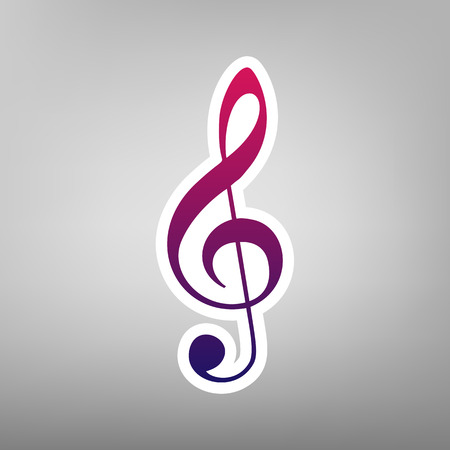 Music violin clef sign. G-clef. Treble clef. Vector. Purple gradient icon on white paper at gray background.