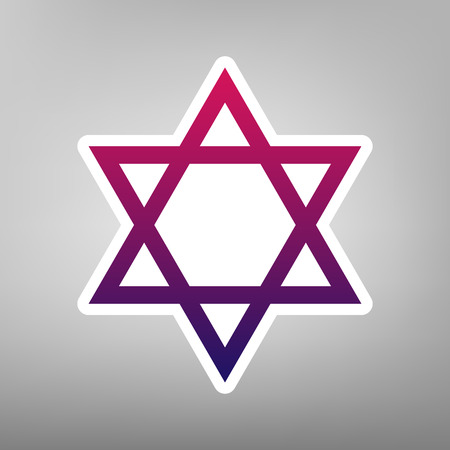 Shield Magen David Star. Symbol of Israel. Vector. Purple gradient icon on white paper at gray background. Illustration