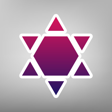 chanukkah: Shield Magen David Star Inverse. Symbol of Israel inverted. Vector. Purple gradient icon on white paper at gray background.