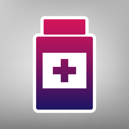 medical distribution: Medical container sign. Vector. Purple gradient icon on white paper at gray background. Illustration