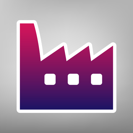 Factory sign illustration. Vector. Purple gradient icon on white paper at gray background.