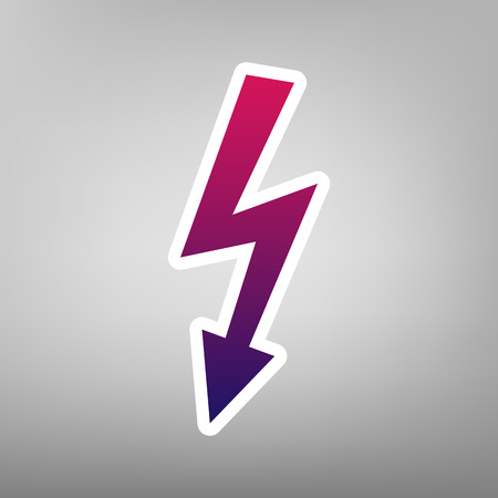 beware: High voltage danger sign. Vector. Purple gradient icon on white paper at gray background.