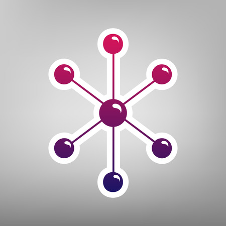 Molecule sign illustration. Vector. Purple gradient icon on white paper at gray background.