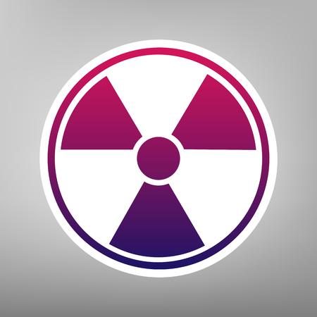 Radiation Round sign. Vector. Purple gradient icon on white paper at gray background. Illustration