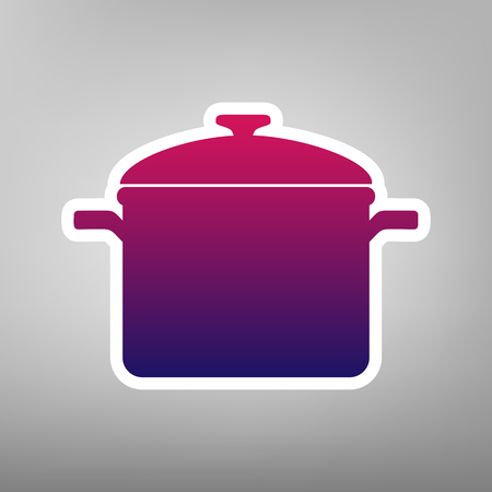 Cooking pan sign. Vector. Purple gradient icon on white paper at gray background.