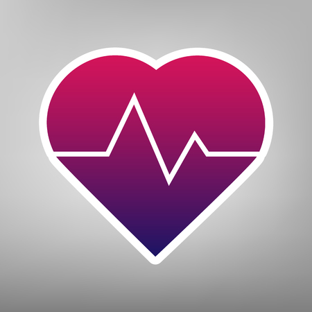cor: Heartbeat sign illustration. Vector. Purple gradient icon on white paper at gray background.