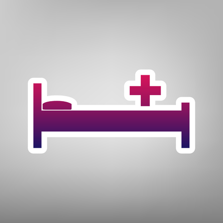 emergency cart: Hospital sign illustration. Vector. Purple gradient icon on white paper at gray background.