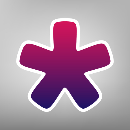 Asterisk star sign. Vector. Purple gradient icon on white paper at gray background.